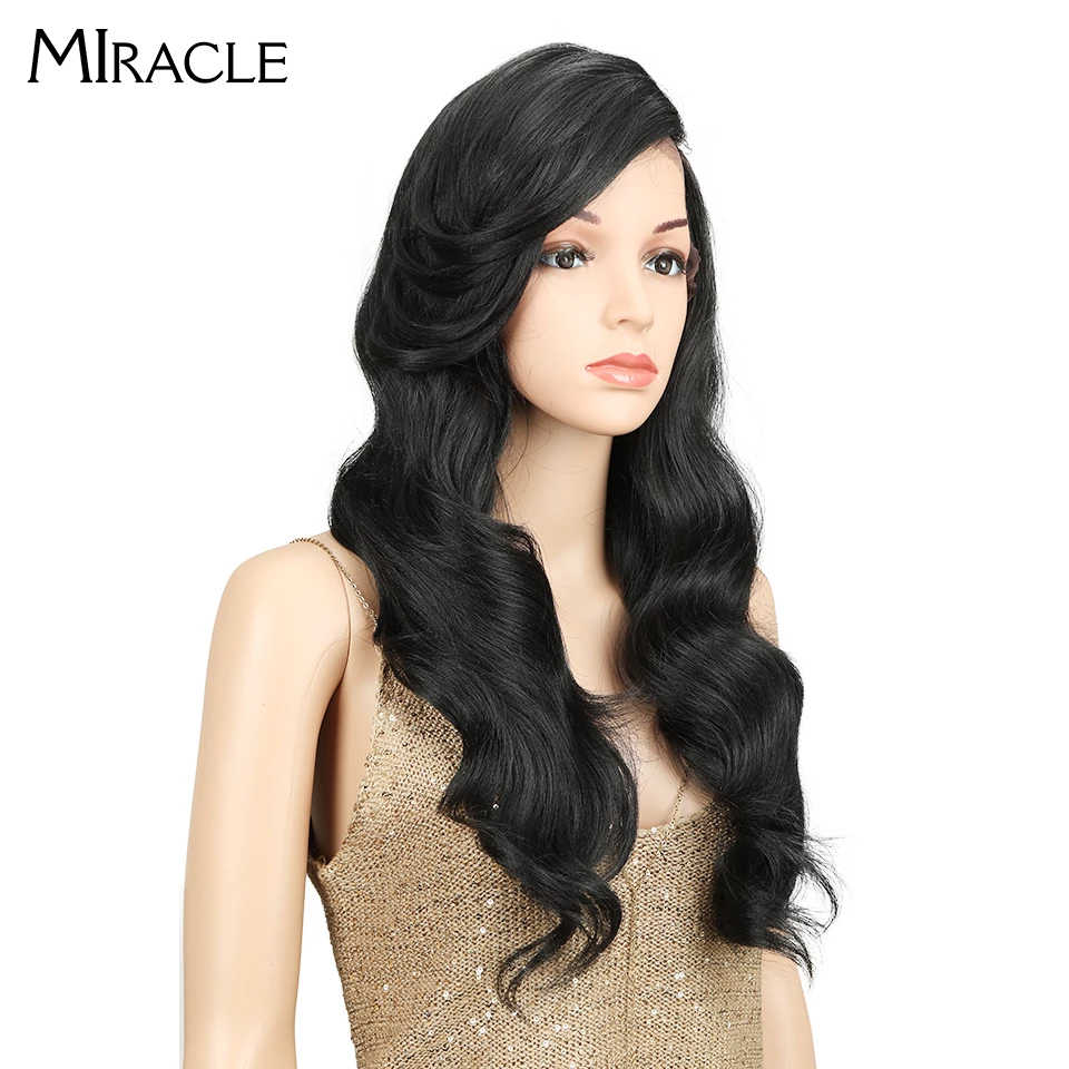 Peluca milagrosa de 22 pulgadas, larga, suelta, ondulada, igual a Ombre, sin pegamento, resistente al calor, pelucas sintéticas de alta densidad 180% para mujeres negras