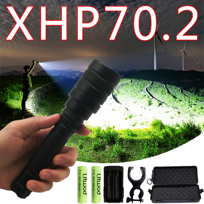 Litwod Z201515 50000lm XHP70.2 Powerful Flashlight Tactical LED Flashlight Torch Zoom Lantern Use 2*18650 Battery Camping 5 Mode