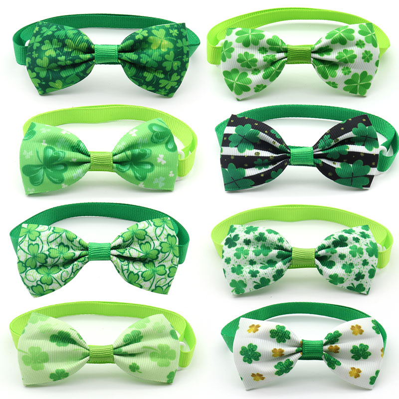 30/50 Pc St. Patrick's Day Pets Dog Product Dog Accessories Green Clover Style Dog Pets Bow Tie Necktie Pet Supplies Dog Bow Tie