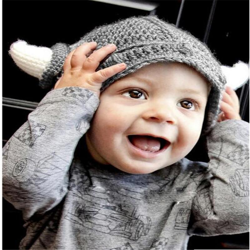 Детская вязаная шапка викинга Warrior, вязаная шапка ручной работы для фотосъемки новорожденных, рождественский подарок для детей 0-12 месяцев