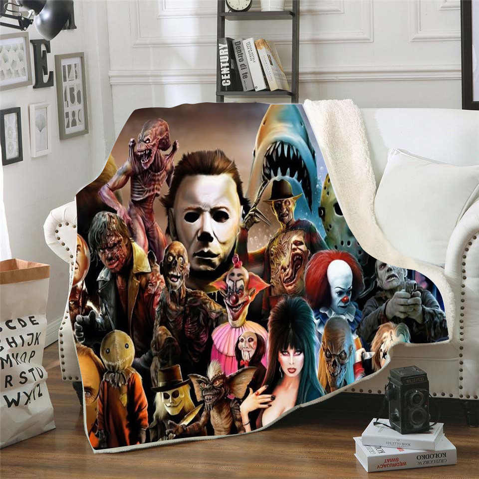 Horror movie character Nap Blanket Soft Comfortable Velvet Plush Blanket for Couch Bed Travel Warm Cover Blanket Bedding Outlet