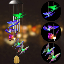 6led Solar Power zmienne łańcuchy świetlne IP65 wodoodporny kolorowy motyl dzwonek wietrzny lampa ogrodowa dekoracja obejścia tanie tanio HOSPORT CN (pochodzenie) NONE LED String Lights Solar Lamp 3 7 V Z tworzywa sztucznego Brak Żarówki LED Nowoczesne HOLIDAY