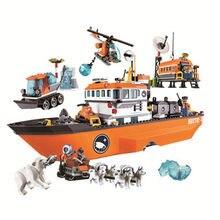 10443 arctic icebreaker navio trenó aeronave aventura montado blocos de construção tijolo diy brinquedos cadeia tijolos de célula cidade brinquedos para o miúdo