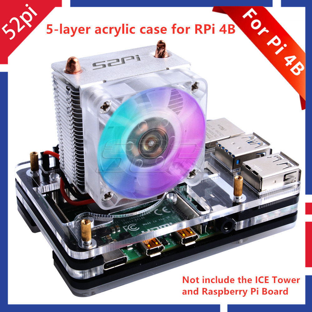 52Pi New! 5-layer Acrylic Transparent ( Clear & Black ) / Black / Colorful Case With Cooling Fan For Raspberry Pi 4 B ICE TOWER