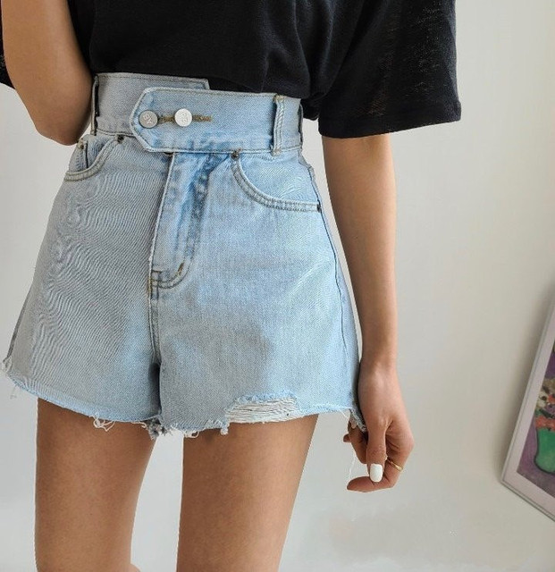 2021Ladies Summer High Waist Two Buttons Washed Raw Edge Denim Shorts Women booty shorts  shorts women  shorts women high waist 1