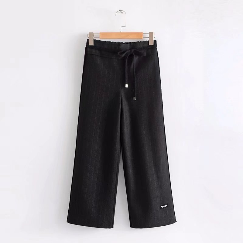 2017 Western Style Autumn And Winter WOMEN'S Dress New Style Loose-Fit Padded Woolen Cloth Capri Pants High-waisted Straight-leg