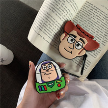 3D Cute Toy Story Buzz Woody Lightyear Headpdhone Case For Apple Airpods Silicone Cartoon Protection
