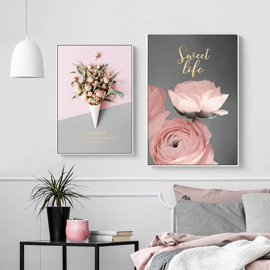 Pintura de la pared de la flor de peonía impresión en lienzo arte nórdico Rosa póster pinturas de la pared para niñas sala de estar Pop Art decoración