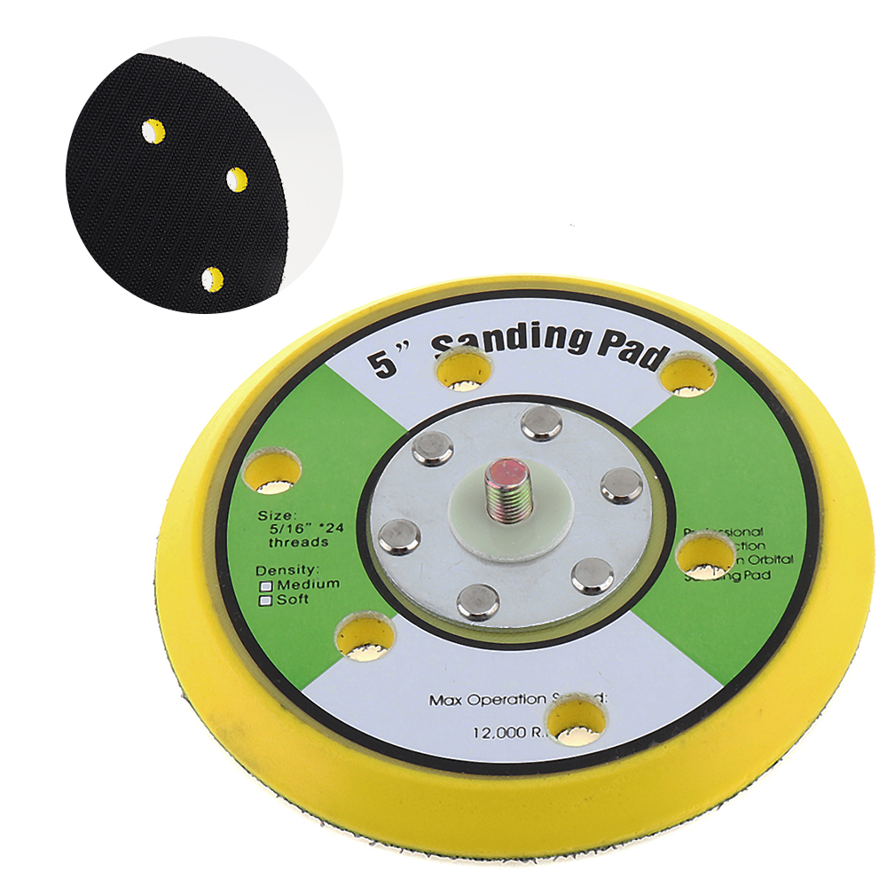 Professional 5 Inch 12000rpm Dual Action Random Orbital Sanding Pad Plate With 6 Holes For Pneumatic Sanders Disc Air Polishers