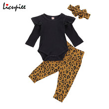 Romper Headband-Set Leopard Baby-Girl Infant 0-24-Month Casual Autumn Top Long-Pants