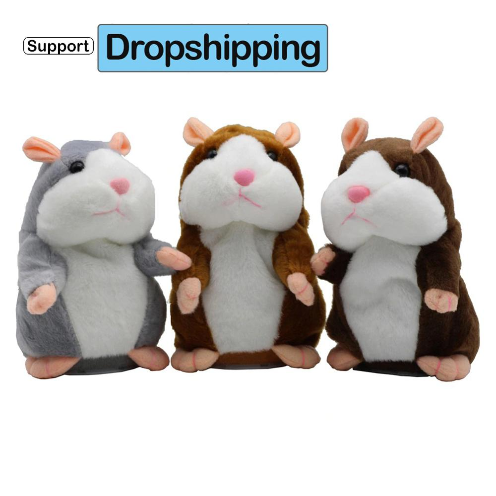 Support Dropshipping 15cm Talking Hamster Falante Mouse Pet Plush Toy Cute Talking Sound Record Educational Stuffed Doll