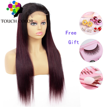 Ombre Colored Lace Front Wig Straight Human Hair 4x4 Indian Long Remy lace For Women Burgundy Blonde