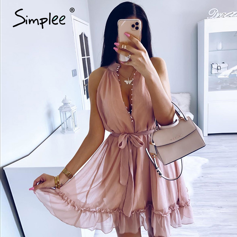Simplee Sexy Sleeveless Women Dress Solid Ruffled Sash Buttons Party Summer Dress Casual Holiday Ladies Chiffon Beach Mini Dress