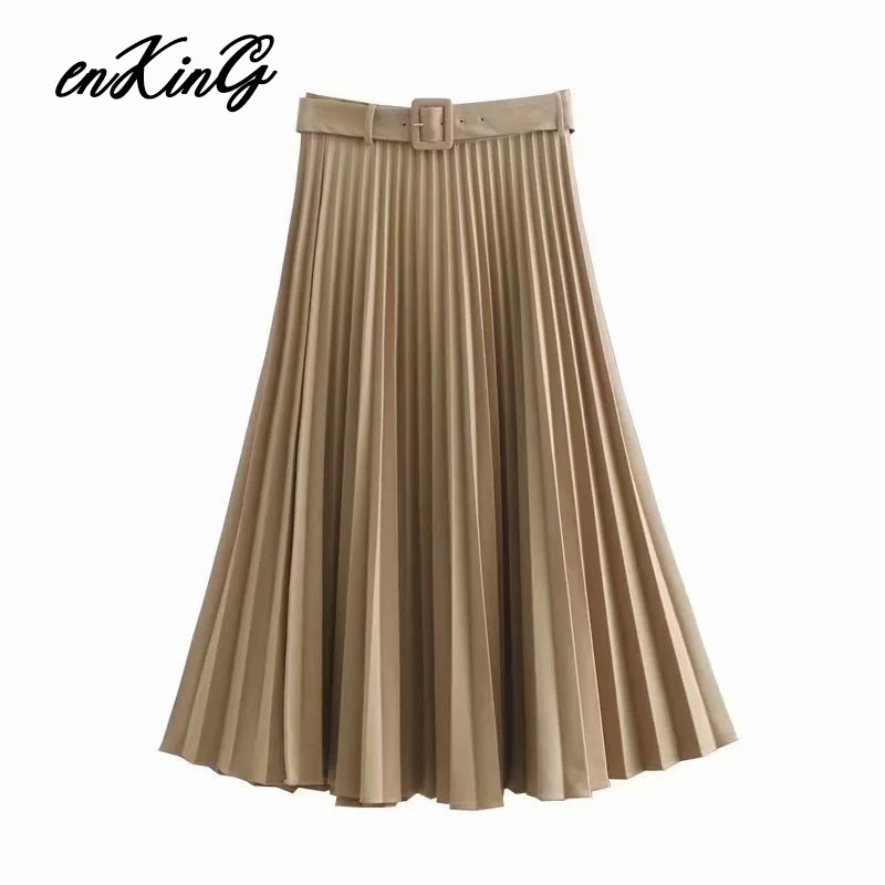 2019 England Office Lady Solid Elegant High Waist Pleated Sashes Midi Skirt Women Faldas Mujer Moda 2019 Long Skirts Womens