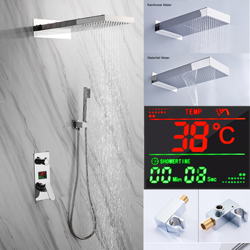 BAKALA Chrome Brass LED Shower Head Digital Display Mixer Taps Bathroom Shower Faucet 3-Functions Digital Shower Faucets Set bakala bathroom led shower set 2 functions led digital display shower mixer concealed shower faucet 8 inch rainfall shower head