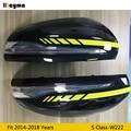 AMG желтая линия Стиль углеродного волокна замена зеркала крышка для Benz S класс S300 S400 S500 2014-2018 год W222 LHD зеркало заднего вида крышка