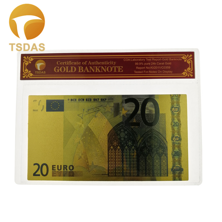 Nice Colored <font><b>Euro</b></font> Gold <font><b>Banknote</b></font> <font><b>20</b></font> <font><b>Euro</b></font> <font><b>Banknotes</b></font> Fake Money Bill with Plastic Frame Drop Shipping image