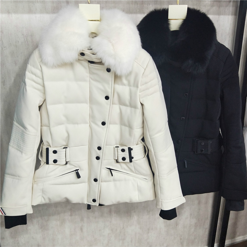 high quality new style   down     coats   genuine fox fur outdoor ski   down   jacket black and white color   down   jackets