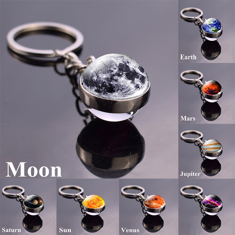 Moon Earth Nebula Space Galaxy Keychain Solar System Planet Keyring Sun Mars Double Side Glass Ball Key Chain image