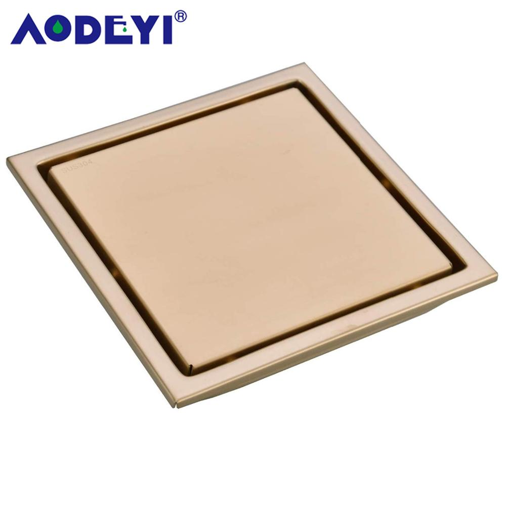 Brushed Gold Stainless Steel Shower Drain Black Bathroom Floor Drain Tile Insert Square Floor Waste Grates 150X150