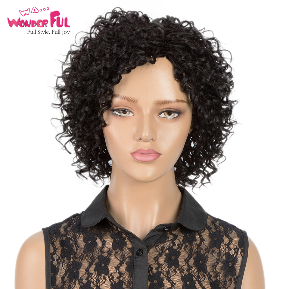 Short Afro Kinky Curly Human Hair Wig Cheap Wigs For Black Women Human Hair 100% Remy Human Hair Machine Made Full Wig Ombre