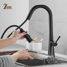 ZGRK Faucet Kitchen Deck Mounted Pull Out Kitchen Mixer Taps Swivel 360 Degree Hot And Cold Black Faucet