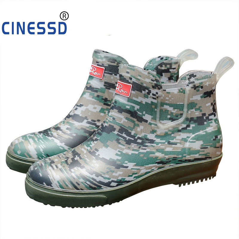 Men pure color rain boots outdoor fashion 39-44 plus size fishing boots for male hot sale PVC waterproof short boots Camouflage image