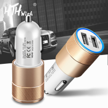 5V 2.1A Dual USB Car Charger Metal Alloy Fast Phone Universal Mobile usb car cable Adapter