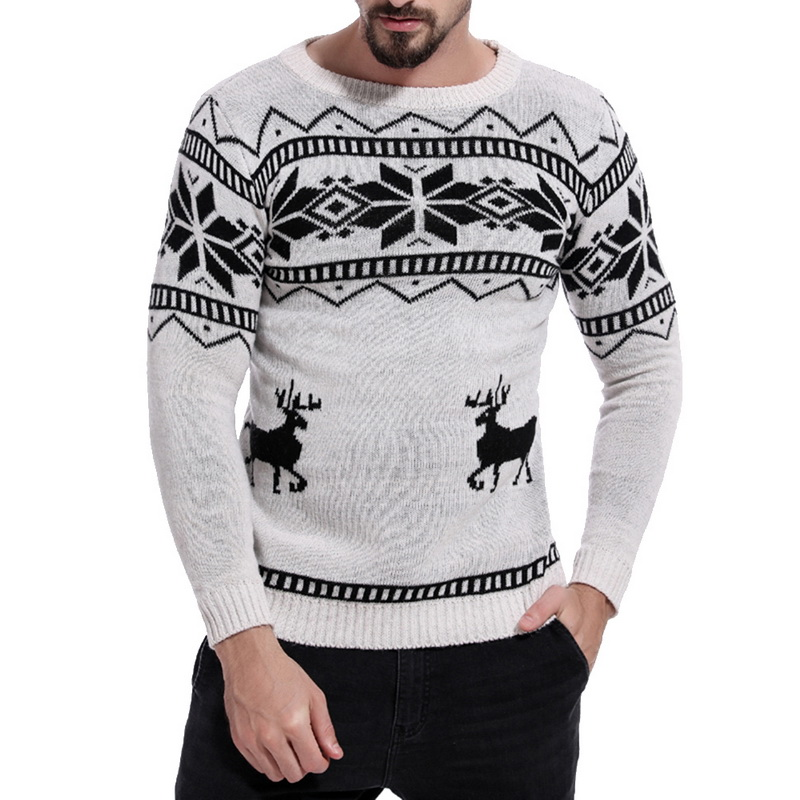 PUIMENTIUA Mens Causal O Neck Sweater Deer Printed Autumn Winter Christmas Pullover Knitted Jumper Sweater Slim Fit Male Clothes