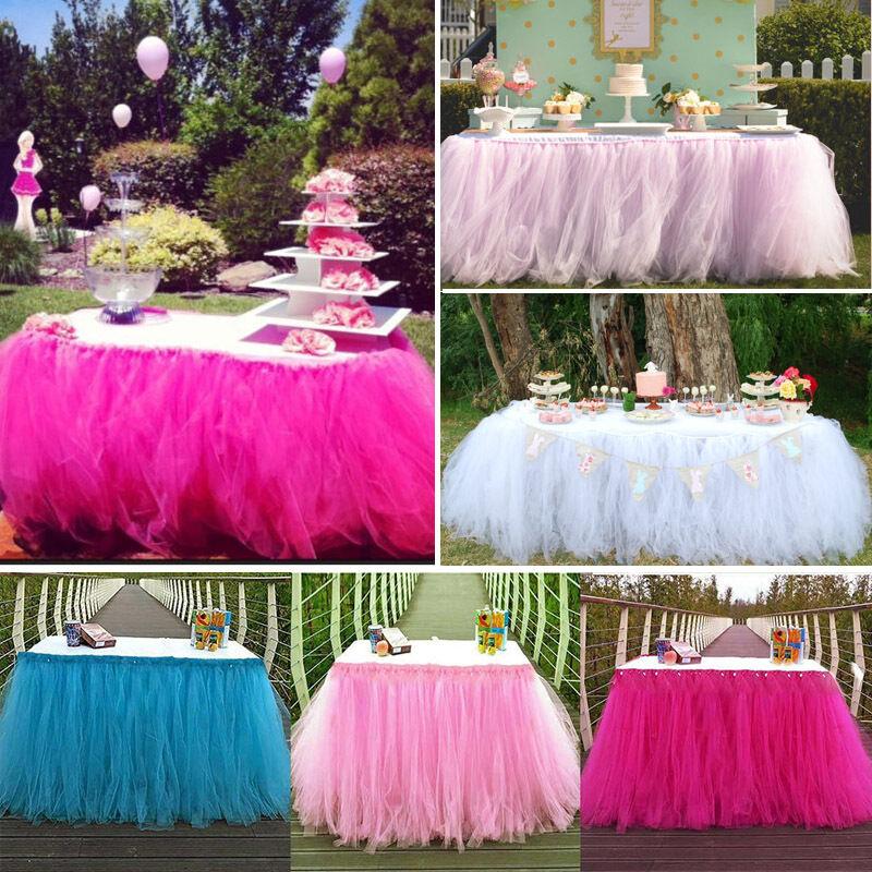 US Stock TUTU Table Skirt For Wedding Birthday Baby Shower Tableware Decor Tulle