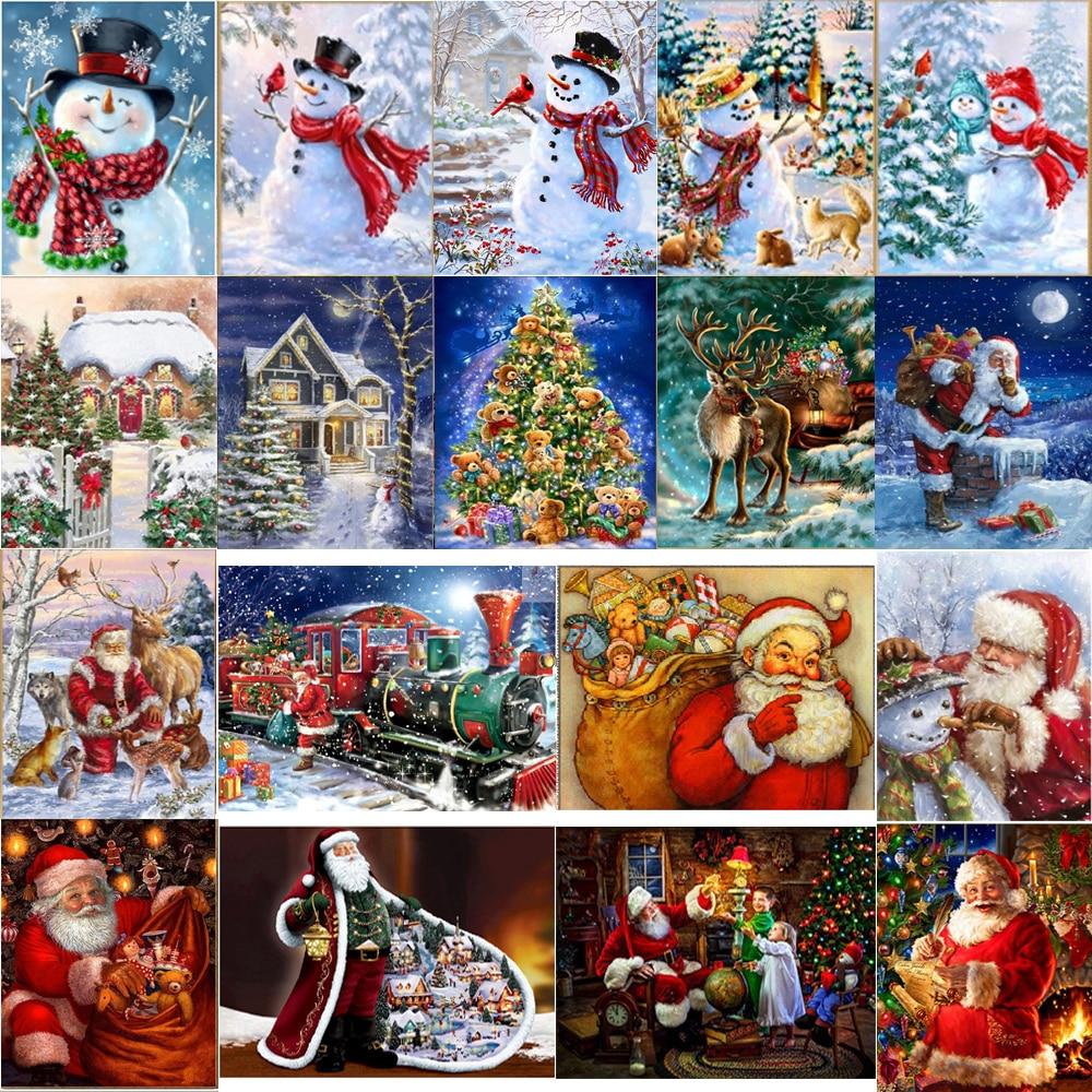 5D алмазная картина Санта Снеговик хижина круглая Алмазная вышивка мозаика украшение дома узор DIY Ручная работа Новогодний подарок