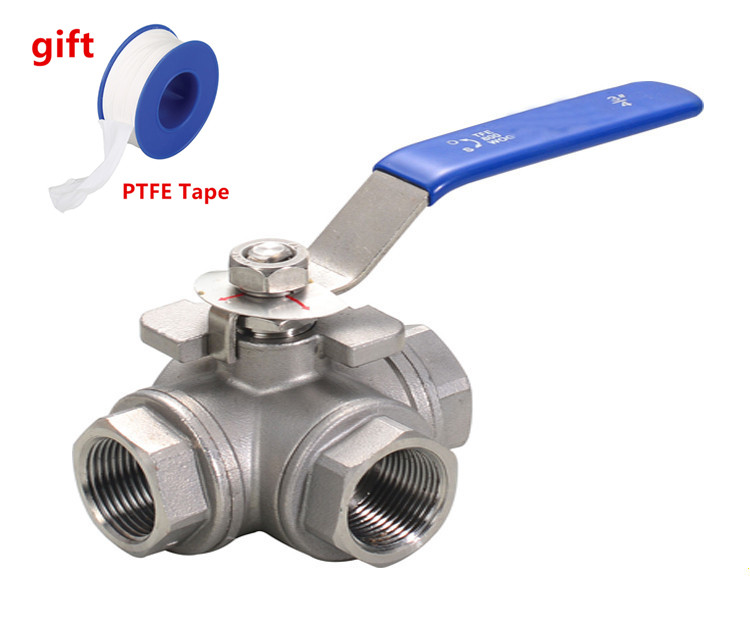 Freeshipping 1pcs Female 3 Way T-type L-type  304 Stainless Steel  Ball Valve