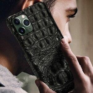 Image 2 - תנין אמיתי עור מקרה עבור Iphone 11 פרו מקסימום 11 מקורי עור חזרה כיסוי עבור iphone 12 פרו מקס xs max xr coque fundas