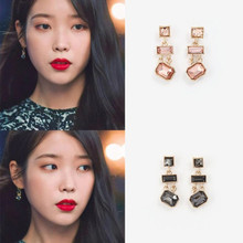black DEL LUNA Hotel IU Korean dramas  Lee Ji Eun TV Fashion Eardrop For Women Earrings pendientes brincos ornament cool
