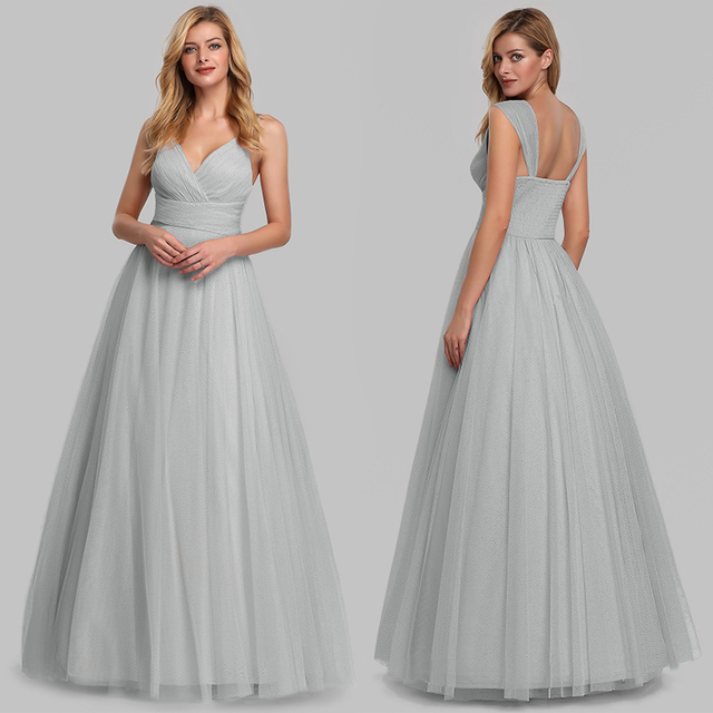 Evening Dress Long Elegant Side-Draped A-line V-neck with Straps Floor-length Sleeveless Evening Party Gowns Queen Abby 2