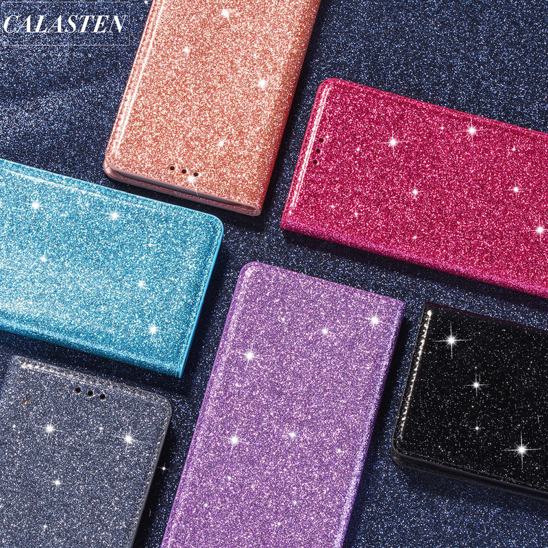 Bling <font><b>Case</b></font> For <font><b>Samsung</b></font> Galaxy J4 J4 Plus J6 Plus 2018 J330 <font><b>J5</b></font> Pro J730 J8 2018 Glitter <font><b>Leather</b></font> Flip Wallet Stand Card Slot Cover image