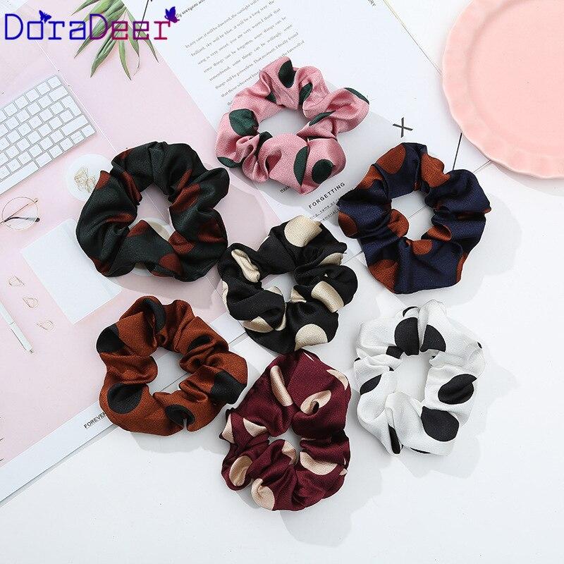 DoraDeer резинки для волос для девочек в горошек, черные аксессуары для волос, женские банданы с принтом, держатель для конского хвоста, повязка
