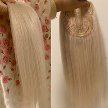 Hair-Extension Ash-Blonde Hairpiece-Wig Clips Toupee Lace Human Women with Double-Knots