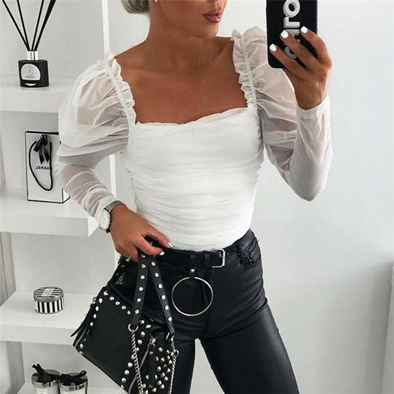 White Puff Sleeve Sexy Tulle Blouses Ladies Long Sleeve Tops Backless White Shirts Blusa Autumn Streetwear Fit Slim Clubwear