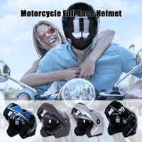 성인의 오토바이 대형 안전 조절 헬멧 사이클링 오토바이 썬 바이저 더블 렌즈가있는 원피스 성형 헬멧