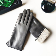 Women Gloves Touchscreen Thermal-Cashmere-Lined Classic Real-Leather Fashion L193NR1