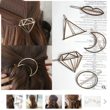 Fashion Alloy Diamond Geometric Circle Shape Hair Accessories Hairpin Word Clip Headwear Barrettes for Women Girls Simple Style(China)