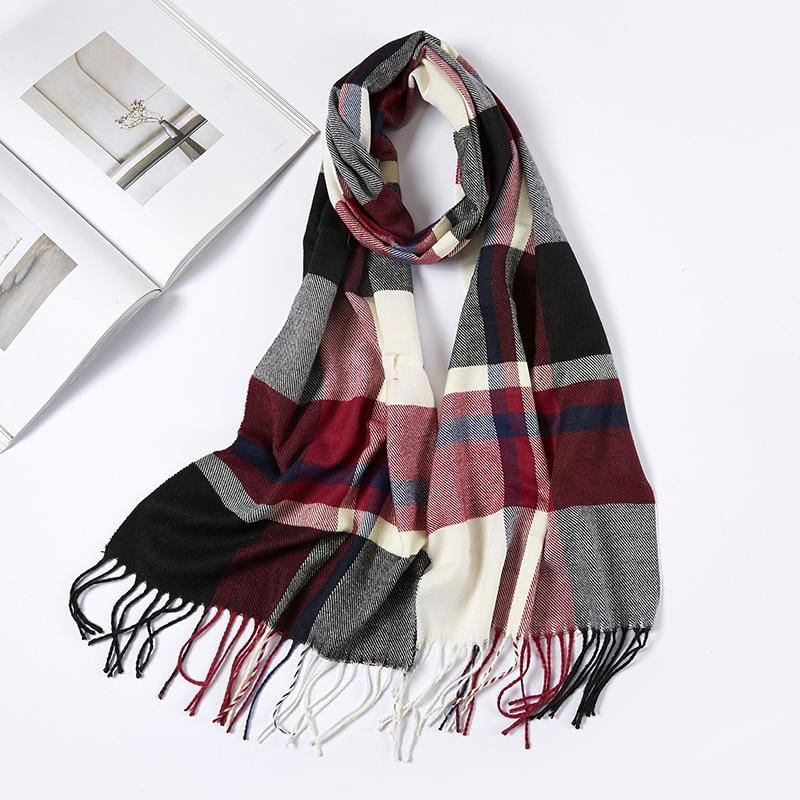 Men Plaid Check Warm Unisex Small Size 180*30cm Brand Designer Winter Cashmere Scarves Men Scarf