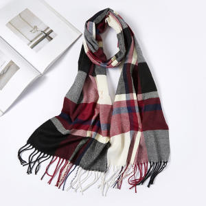 Scarves Men Plaid Winter Cashmere Warm Small-Size Designer Check Unisex Brand 180--30cm