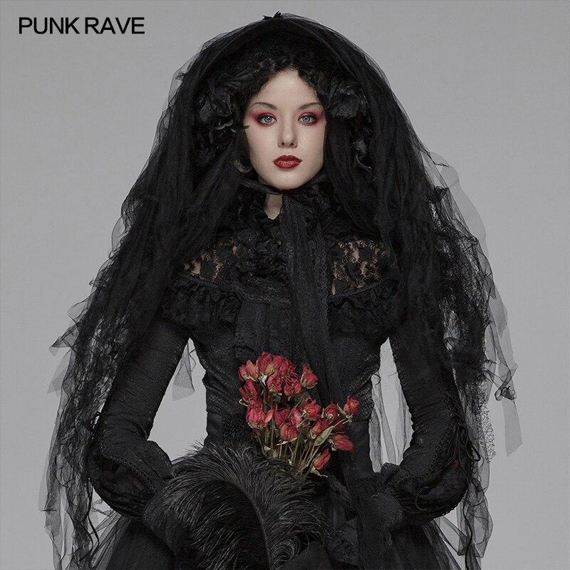 PUNK RAVE femmes gothique Lolita Palace fête sombre chapeau cheveux décoration personnalité scène Performance tête voile femmes accessoires
