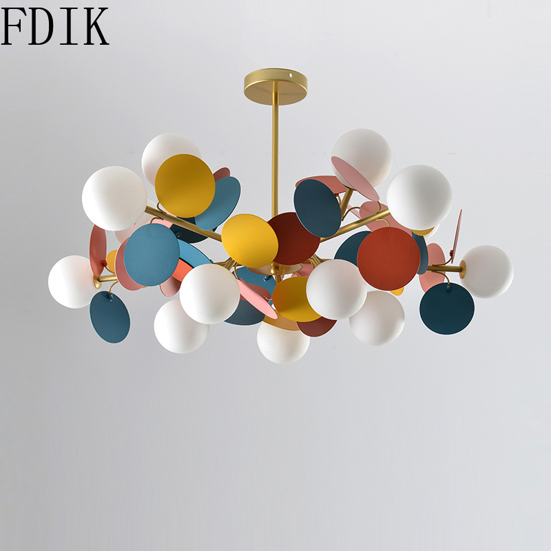 Living Room Decoration Chandelier Macaron Glass Led Chandeliers Children's Room Modern Decor Indoor Lighting Leaves Metal Lamp