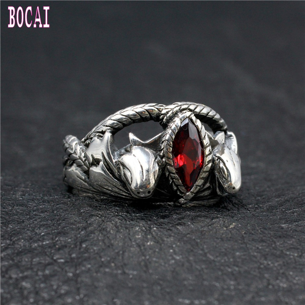 Original New man's ring Aragon double snake Barah ring s925 silver jewelry hand set red zircon trendy man tough guy silver ring