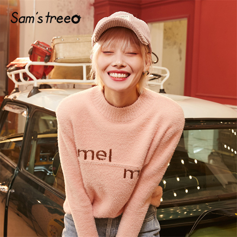 SAM'S TREE Multicolor Solid Letter Colorblock Casual Pullover Sweater Women 2020 Winter Pure Soft Korean Ladies Daily Tops