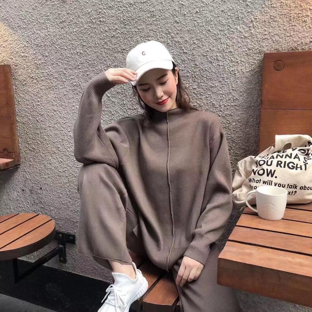 2019 Women Wool Knitted Suit Warm Spring Autumn Suit Female Pullover Sweater & Pants 2 Piece Set Beige, Black, Khaki