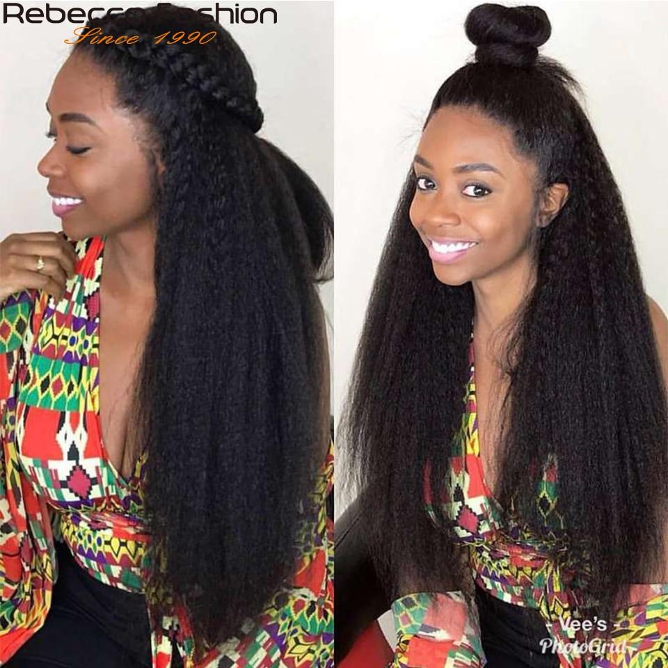 Rebecca  Yaki Straight Hair 100%  s 1/3/4 Pcs Double Weft 10 to 30 Inch 2